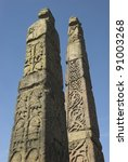 Stock photo anglo saxon stone structures depicting biblical scenes in sandbach cheshire 91003268