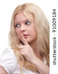 Young woman blonde girl asking for silence white isolated - stock photo
