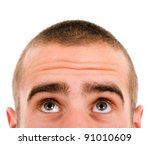 close up of young man looking up | Shutterstock . vector #91010609