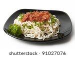 closeup of spaghetti | Shutterstock . vector #91027076
