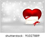 red heart and an invitation... | Shutterstock .eps vector #91027889
