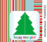 christmas tree with happy new... | Shutterstock .eps vector #91040522