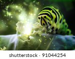 Caterpillar with magical lights coming from kale - stock photo