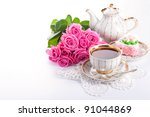 Closeup Of Cup Of Tea With Cak...
