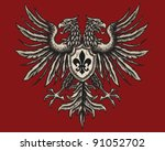 hand drawn heraldic eagle | Shutterstock .eps vector #91052702