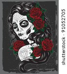 day of dead girl illustration | Shutterstock .eps vector #91052705