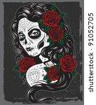 day of dead girl illustration | Shutterstock .eps vector #91052705