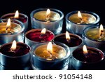 close up of tea light candles ... | Shutterstock . vector #91054148