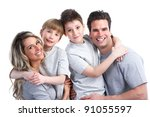 happy family. father  mother... | Shutterstock . vector #91055597