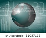 An abstract illustration of a business globalization with a binary code in the background /Business strategy - stock photo