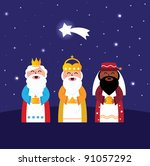 three wise men bringing gifts... | Shutterstock .eps vector #91057292