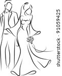 silhouette of  bride and groom  ... | Shutterstock .eps vector #91059425