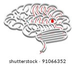 Stock vector a maze in the shape of a brain with path to the centre 91066352