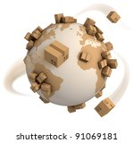 cardboard boxes around the...   Shutterstock . vector #91069181