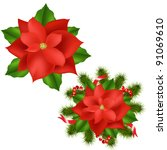2 poinsettia  isolated on white ... | Shutterstock .eps vector #91069610