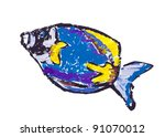 Small photo of Acanthur (Acanthurus guttatus) painted abstract sea fish isolated- children drawing