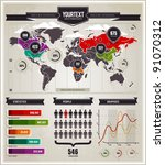 vector set of infographics... | Shutterstock .eps vector #91070312