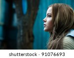 portrait of a beautiful girl on ... | Shutterstock . vector #91076693