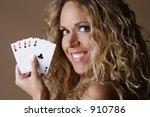 blond female model smiling... | Shutterstock . vector #910786
