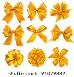 set of gold gift bows with... | Shutterstock .eps vector #91079882