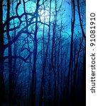 Dark Forest With Moonlight