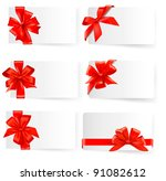 big set of card with red gift... | Shutterstock . vector #91082612
