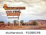 old motel sign on route 66  usa | Shutterstock . vector #91088198