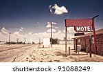 Old Motel Sign On Route 66  Usa