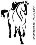 raster   running horse... | Shutterstock . vector #91095344