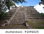 mayan pyramid in chichen itza   ... | Shutterstock . vector #91096025