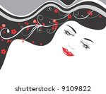 vector illustration of beautiful girl and black hair - stock vector