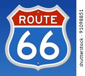 route 66 road sign | Shutterstock .eps vector #91098851