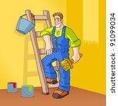 painter in orange room | Shutterstock .eps vector #91099034
