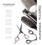 scissors and combs on white | Shutterstock . vector #91110902