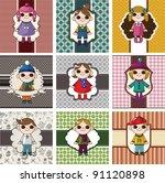 winter children card | Shutterstock .eps vector #91120898