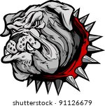 Cartoon Vector Image of a Bulldog Mascot Head