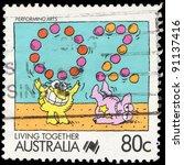 australia   circa 1988  a stamp ... | Shutterstock . vector #91137416