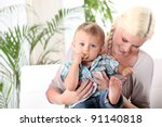 mother and baby  sitting on a... | Shutterstock . vector #91140818