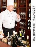 chef cook taste glass of red... | Shutterstock . vector #91143287