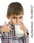 little boy drinking milk on... | Shutterstock . vector #91148417