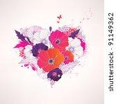 Stock vector abstract vector floral heart 91149362