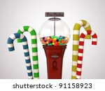 gumball machine isolated on white background - stock photo