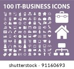 100 it business icons set ... | Shutterstock .eps vector #91160693