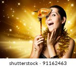 happy woman with carnival mask | Shutterstock . vector #91162463