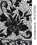 black lace with a floral... | Shutterstock . vector #91173704