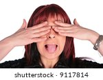 woman close eyes and showing... | Shutterstock . vector #9117814