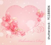 wedding card or invitation with ... | Shutterstock .eps vector #91188806