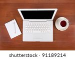 laptop with cup of tea or... | Shutterstock . vector #91189214