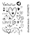 hand drawn doodle valentine's... | Shutterstock .eps vector #91194875