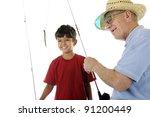 a happy preschooler watching...   Shutterstock . vector #91200449